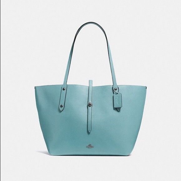 74ce3f30f6 Coach Market Tote in Polished Pebble Leather Cloud